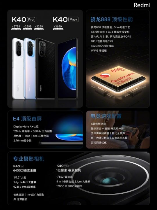 K40 Pro and Pro+ specs